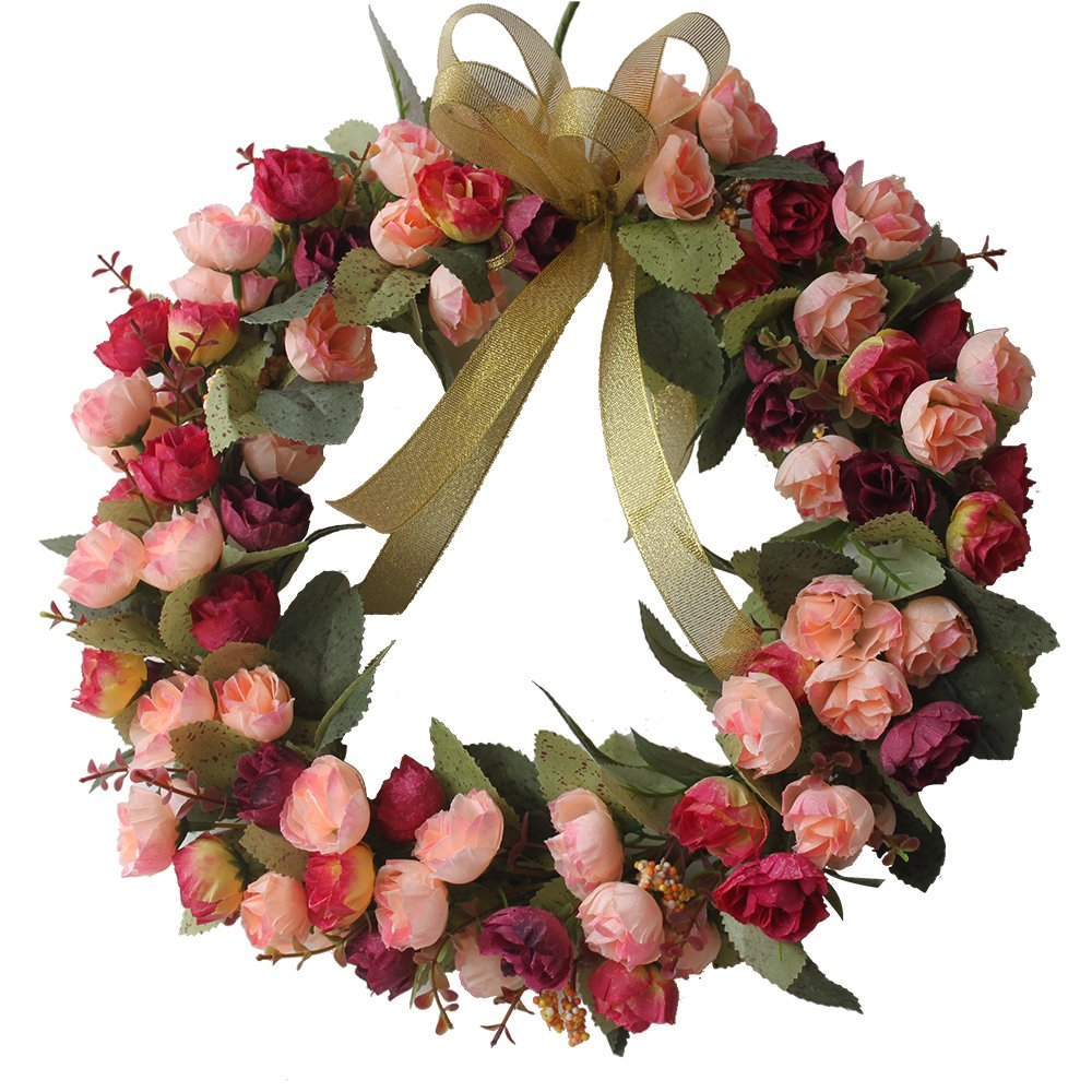 CHICHIC 13.8 inch Rose Wreath Artificial Flower Blossom Garland, Floral Wreaths Flowers Arrangements, Spring Decor Home Office Wall Wedding Decoration Year Round Display, Red & Pink