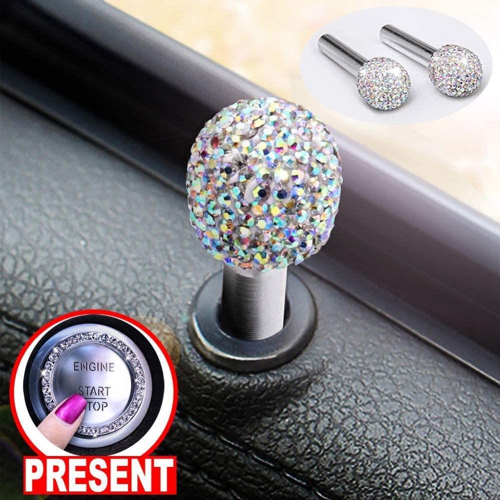 Balight 2PCS Universal Bling Car Door Lock Pull Rod Bolt Cover Car Accessories For Women