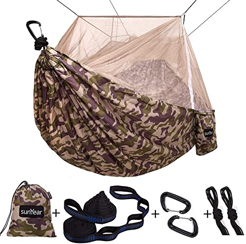 Single Double Camping Hammock with Mosquito Bug Net, 10ft Hammock Tree Straps and Carabiners, Easy Assembly, Portable Parachute Nylon Hammock for Camping, Backpacking, Survival, Travel More