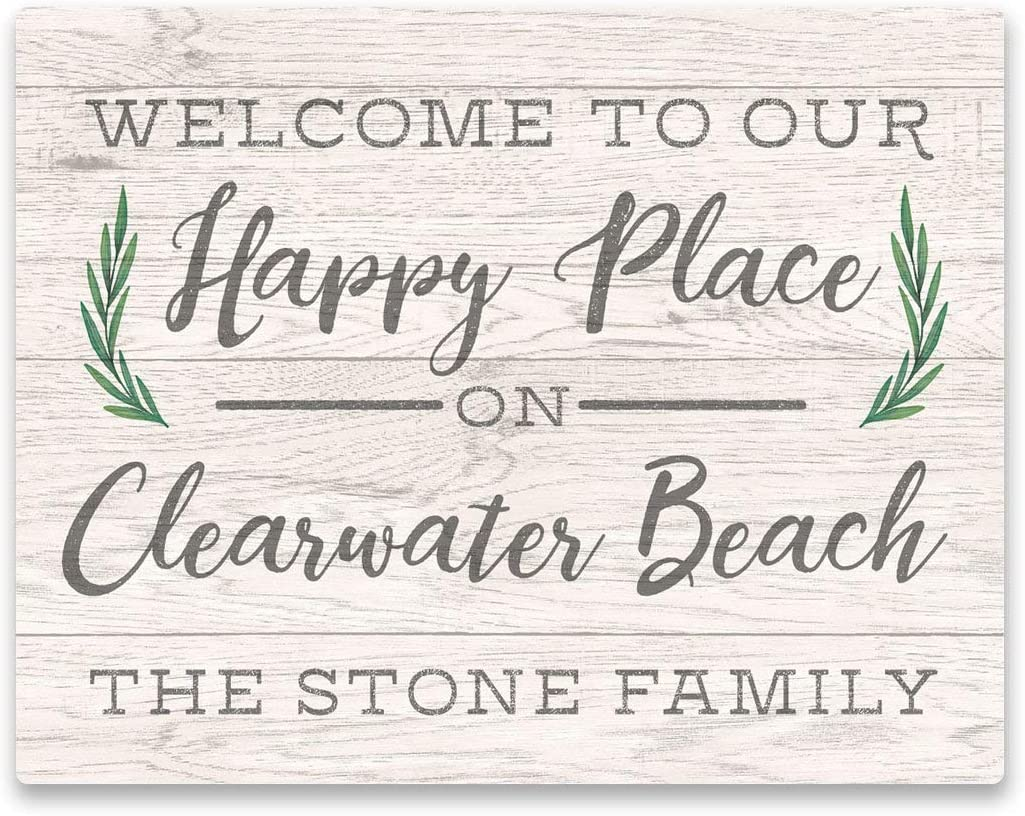 Persoanlized Welcome to Our Happy Place On Clearwater Beach Wall Art - Weathered Text and Wood Look On Aluminum Panel,Vintage Metal Signs Tin Plaque Wall Art Poster for Home Decor 12