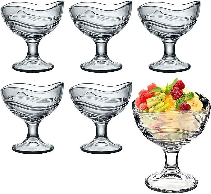 Juego de 6 cuencos de vidrio, para aperitivos y postre o helado, vasos de cóctel