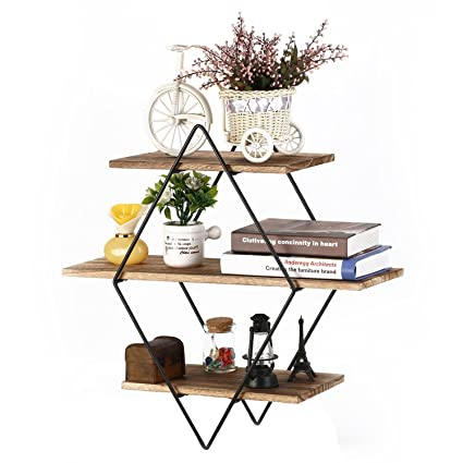 Amazon Com Homode Floating Shelves 3 Tier Geometric Diamond Wall