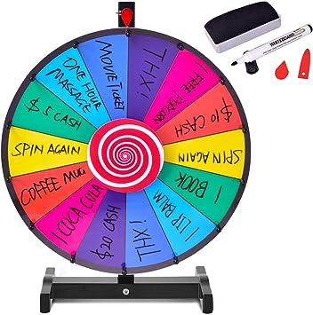 COSTWAY Ruleta de Juego con Soporte Puede Escribir y Limpiar con Pluma Borrable para Fiesta Juguete (18 Pulgadas): Amazon.es: Juguetes y juegos