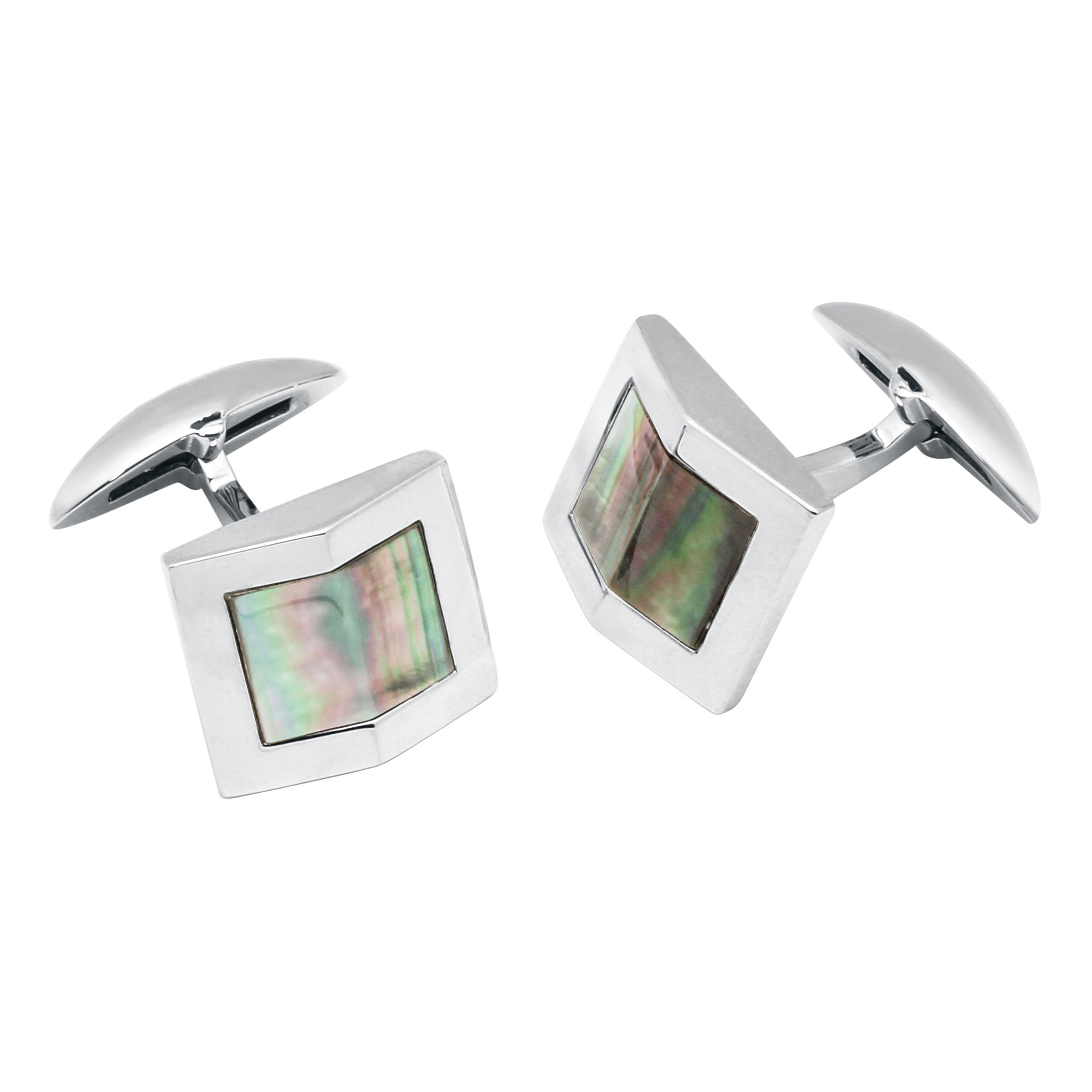 Zsamuel Mens Sterling Silver Black Mother of Pearl Gable Design Cufflinks by Z.Samuel (Image #1)