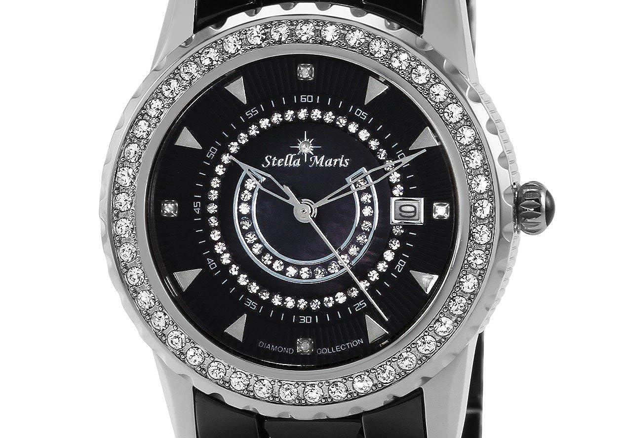 Premium Damen Stm15z2 Maris Schwarz Stella Quarz Armbanduhr Analog Keramik Diamanten FuJlKT1c3