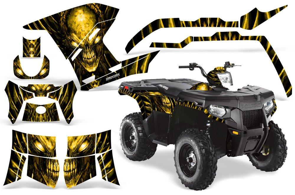 CreatorX Polaris Sportsman 500 800グラフィックキットDecals Skull Chiefイエロー   B00IKTT1H6