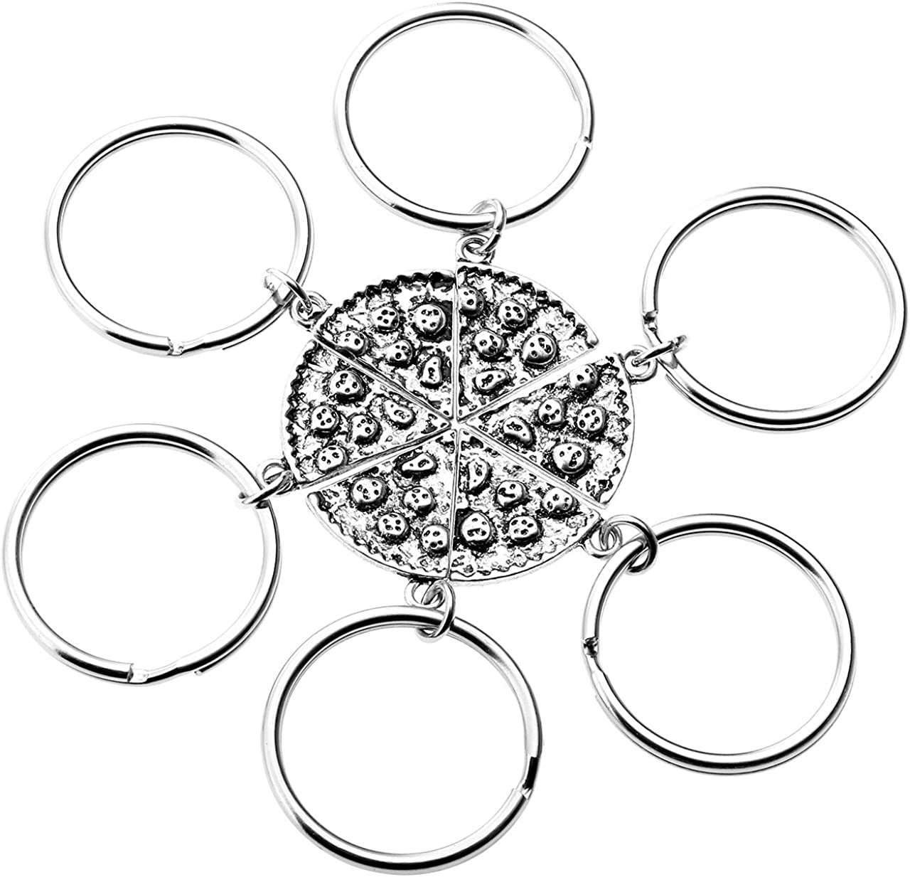 JOVIVI 6pcs Antique Silver Color Metal Pizza Slice Matching Pendant Keychain Best Friends Friendship Gifts