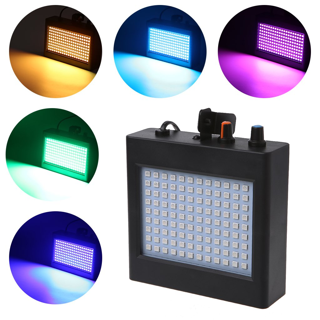 LIYUDL 108 LED Strobe Light DJ Lights, Auto Sound Activated Adjustable Flash Speed Control Stage Lighting for Parties Wedding KTV Pub Club Show AC90-240V 25W (Colorful)