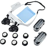 YOCTOSUN Head Wearing Watch Repair Magnifying Glass Double Eye LED Lighted Jeweler Glasses Magnifier 10 x 15x 20 x 25x