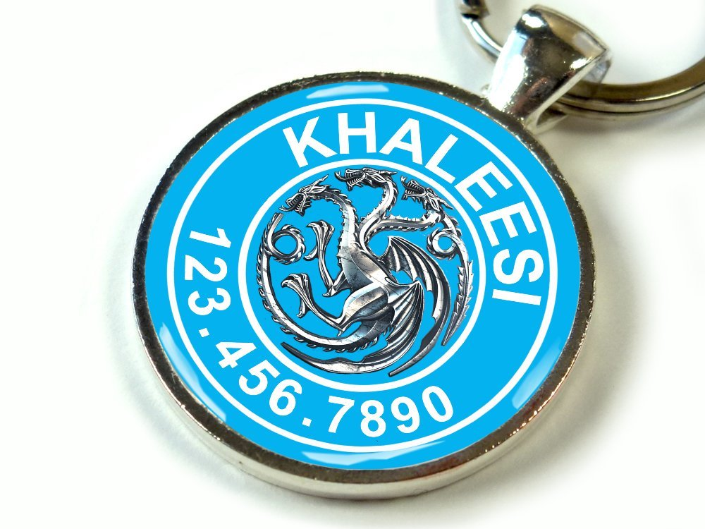 Custom pet ID Tag Dog cat pet tag Game Thrones Baby Blue Khaleesi Targaryen Dragon SGL (Small 1'')