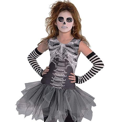 51bc739eab482 Kids Girls Black and Bone Gothic Skeleton Bones Mesh Tutu Dress Halloween  Costume  Amazon.co.uk  Toys   Games