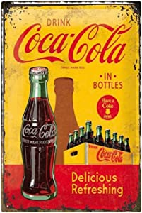 Coca Cola Metal Tin Sign Delicious Refreshing Vintage Poster,Decor Wall for Home Garage Bar Pub Kitchen Outdoor Retro Art Sign 8x12 Inch