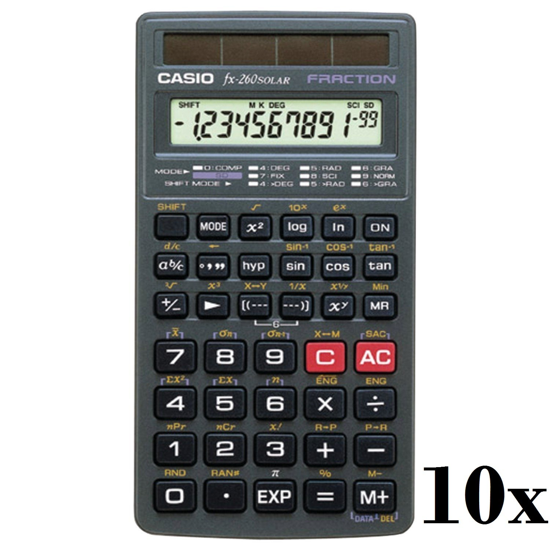 Lot of 10 Casio Scientific Calculator (FX260SLRSC) by Casio
