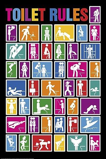Amazon com: Studio B Toilet Rules Poster: Prints: Posters