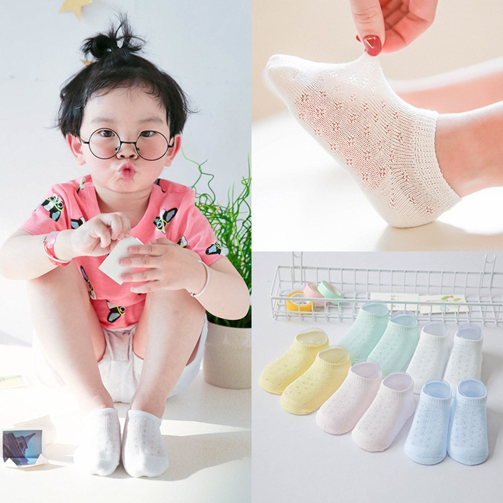 LUOEM Socks Breathable Ultra-Thin Sock Low Cut No Show Ankle Socks for Kids 5 Pairs