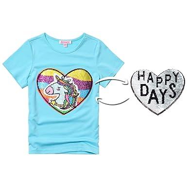 f409e6e3 Big Girls Unicorn Applique Tops BlueReversible Sequin Shirts Summer Clothes
