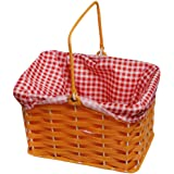 PLASTIC BASKET WITH RED GINGHAM CLOTH AND HANDLE PERFECT FOR SCHOOL BOOK WEEK FAIRYTALE CHARACTER + WORLD BOOK DAY FANCY DRESS COSTUME ACCESSORY