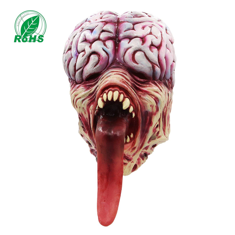 Molezu Resident Evil Licker Mask,Horror Long Tongue Brain Burst Mask for Halloween