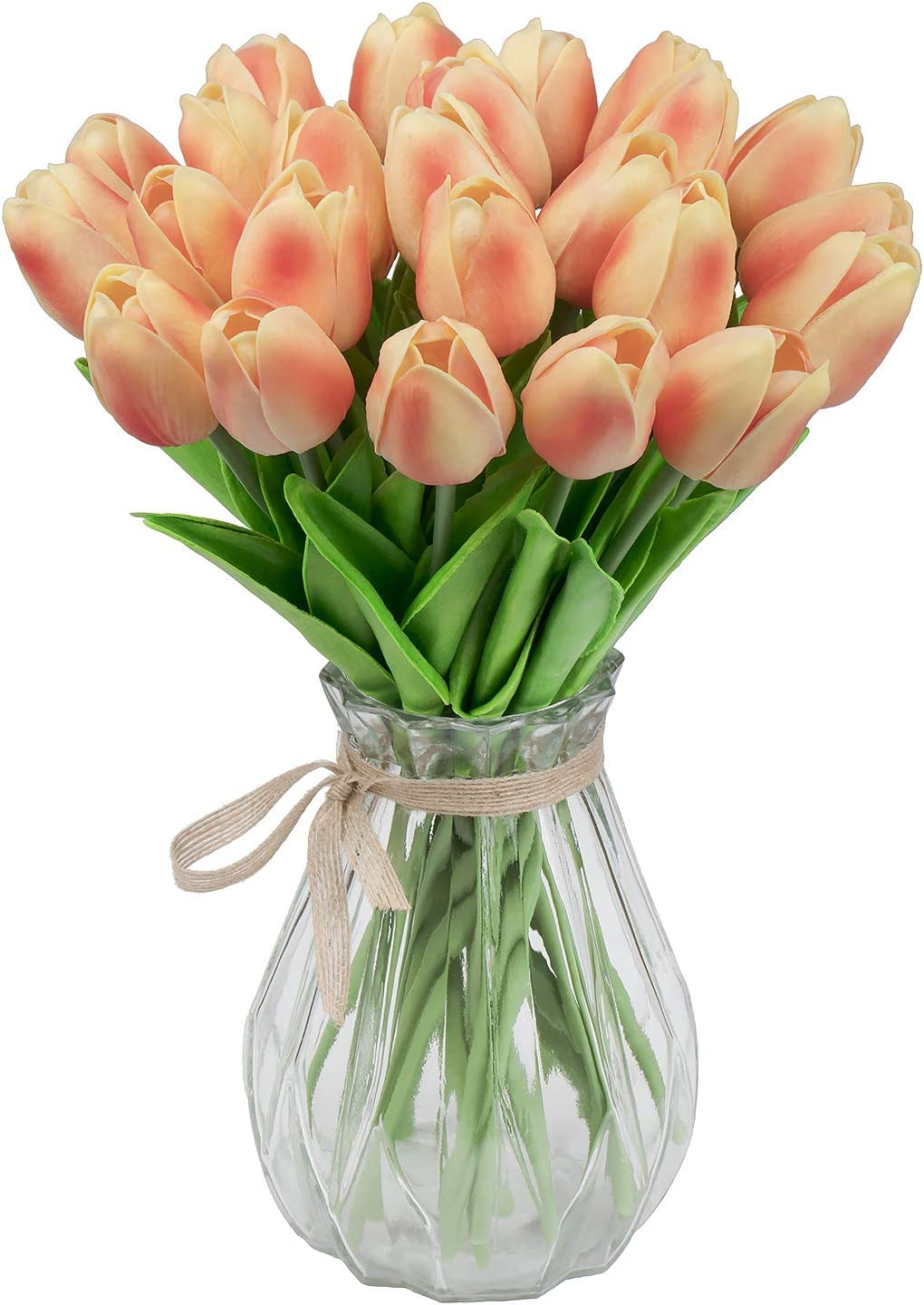 """GPARK 30Pcs Artificial Tulip Fake Flowers Plants 13.3"""" for Wedding Party Home Garden Kitchen Office Party Decor Outdoor Greenery Wedding Wall Decoration (Champagne) (No Vase)"""