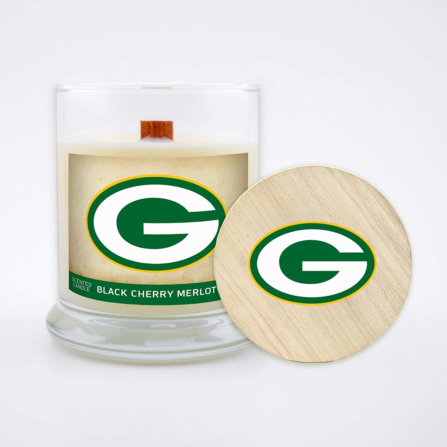 Worthy Promo NFL Green Bay Packers Gifts 8oz Scented Candle Soy Wax w//Wood Wick and Lid Black Cherry Merlot