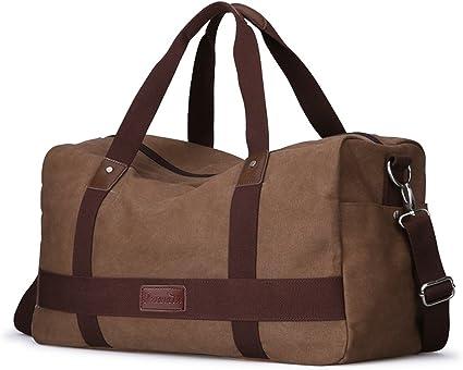 Men/'s Large Canvas Leather Duffle Bag Shoulder Travel Luggage Handbag Gym Tote
