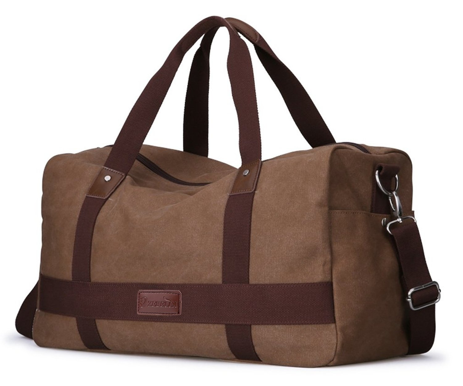 ZEBELLA Unisex Canvas Large Travel Duffel Tote Sports Gym Bag Overnight Handbag