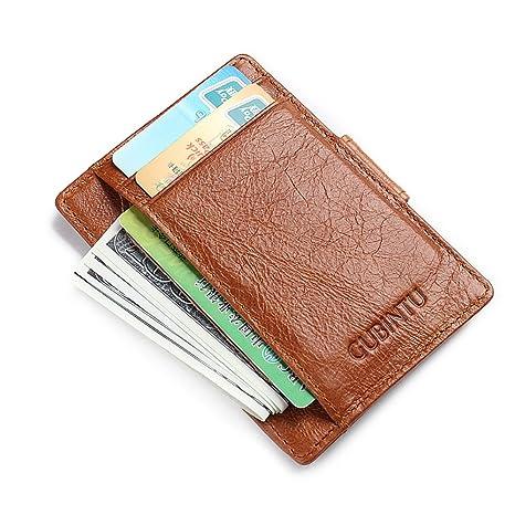 5619fac96 MPTECK @ Marrón Portatarjetas Clip de Dinero Cartera Bloqueo RFID para  hombre mujeres Monedero Slim Billetera