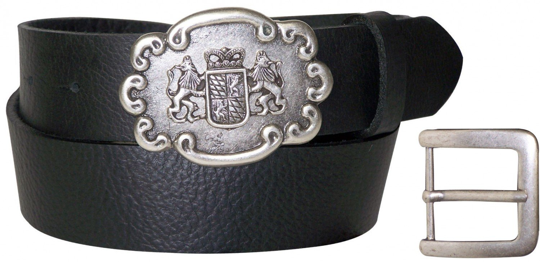 FRONHOFER Oktoberfest leather belt, Bavarian coat of arms, interchangeable, XXL, Size:waist size 31.5 IN M EU 80 cm, Color:Black