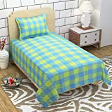 Impeccable Home 3D Printed 160 TC Microfiber Checkered Single Bedsheet with 1 Pillow Cover Green and Aqua Base
