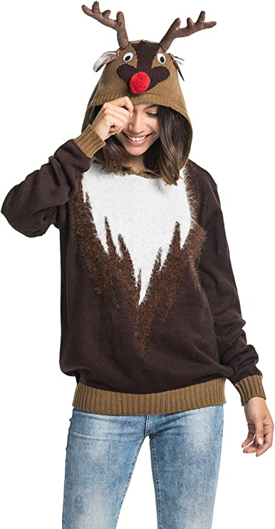 Unisex Women's Ugly Christmas Reindeer Hoodie Sweater Funny Tacky Christmas ugly Christmas sweaters