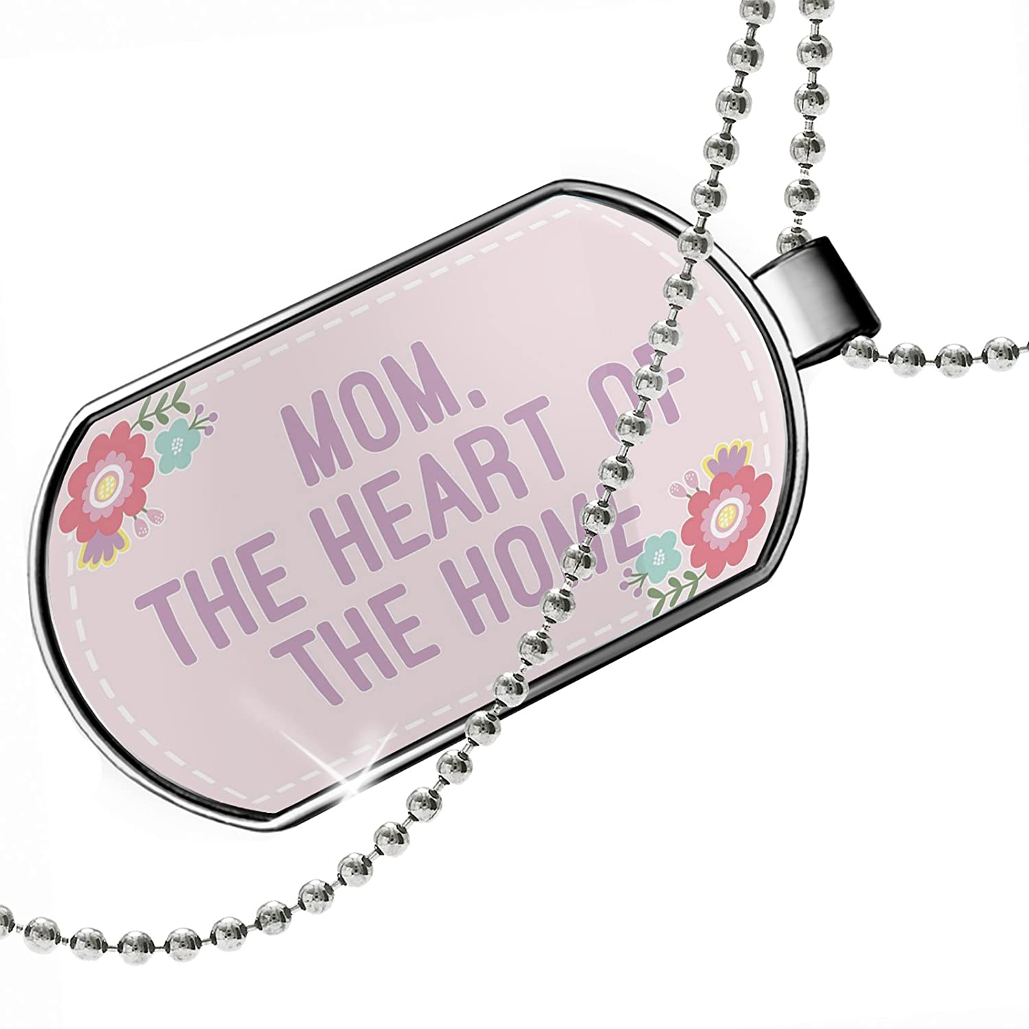 The Heart of The Home Mothers Day Cute Flowers Dogtag Necklace NEONBLOND Personalized Name Engraved Mom