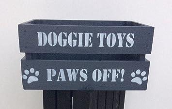Wood Dog Pet Toy Storage Bushel Box Crate Grey With White