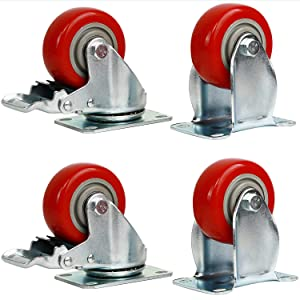 4 Packs 3 Inches (2 with Brakes, 2 Without) Fixed Caster Wheels Set, KINJOEK Polyurethane Caster Wheels with Brakes for Carts, Furniture, Workbench, Trolley, 617lb Total Capacity