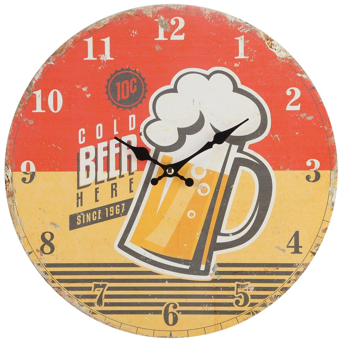 Lily's Home Retro Style 1960s Vintage Inspired Man Cave Beer Wall Clock, Fits Well In Man Cave, Den or Game Room, Battery-Powered with Quartz Movement, Ideal Gift for Beer Lover (13'' Diameter)
