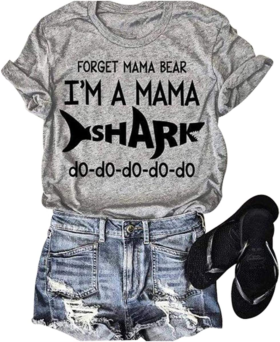 Forget Mama Bear I'm A Shark Shirt Women Funny Letters Graphic Short Sleeve Country Music Tee