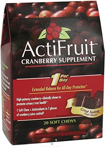 Enzymatic Therapy ActiFruit Cranberry Fruit Chew, 500 mg, 20 Soft Chews, Pack of 6