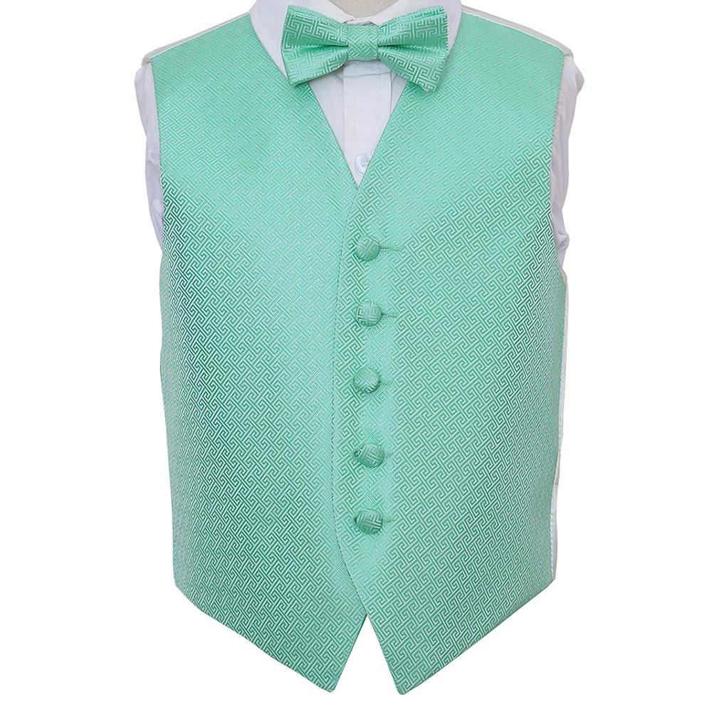 DQT Woven Greek Key  Dark Green Wedding Pre-Tied Boys Cravat