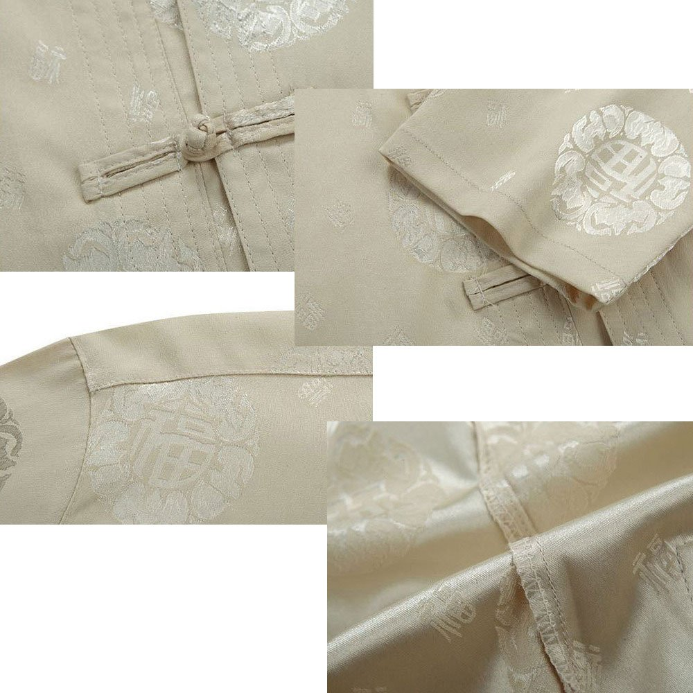 Tang Suit Men Traditional Chinese Clothing Suits Hanfu Cotton Short sleeve shirt coat Mens Tops and pants (XL, Beige) by Airuisky (Image #6)