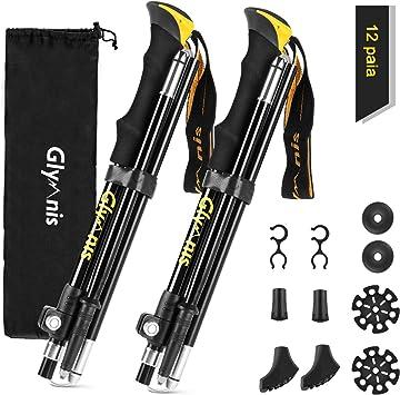 Bastoni Trekking Pieghevoli con 5 Senzioni 110-130cm in Alluminio 7075 per Escursionismo Campeggio Camminate Kwnraor Bastoncini da Trekking