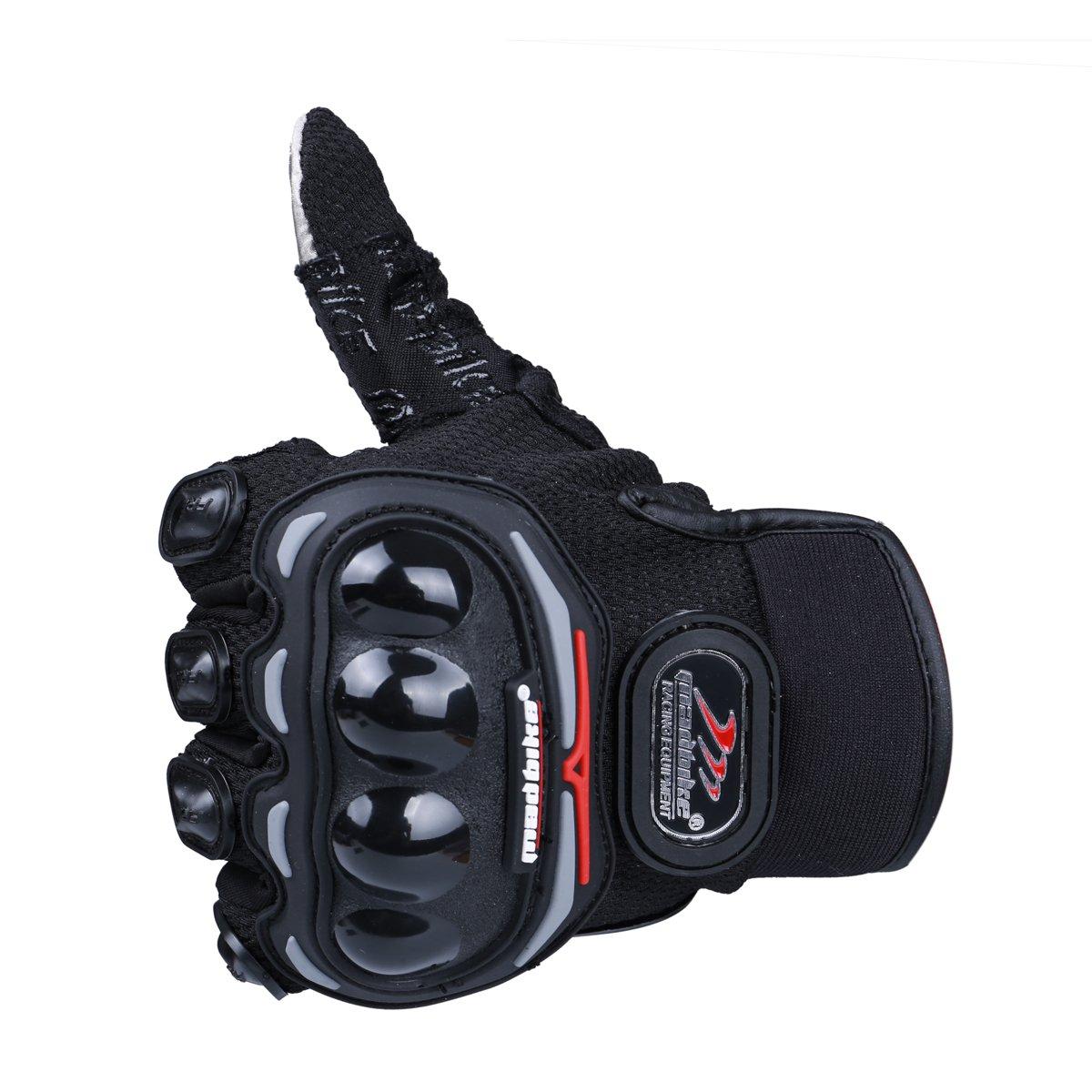 Madbike Gants de moto d/ét/é mesh /écran tactile transpirable Medium, black
