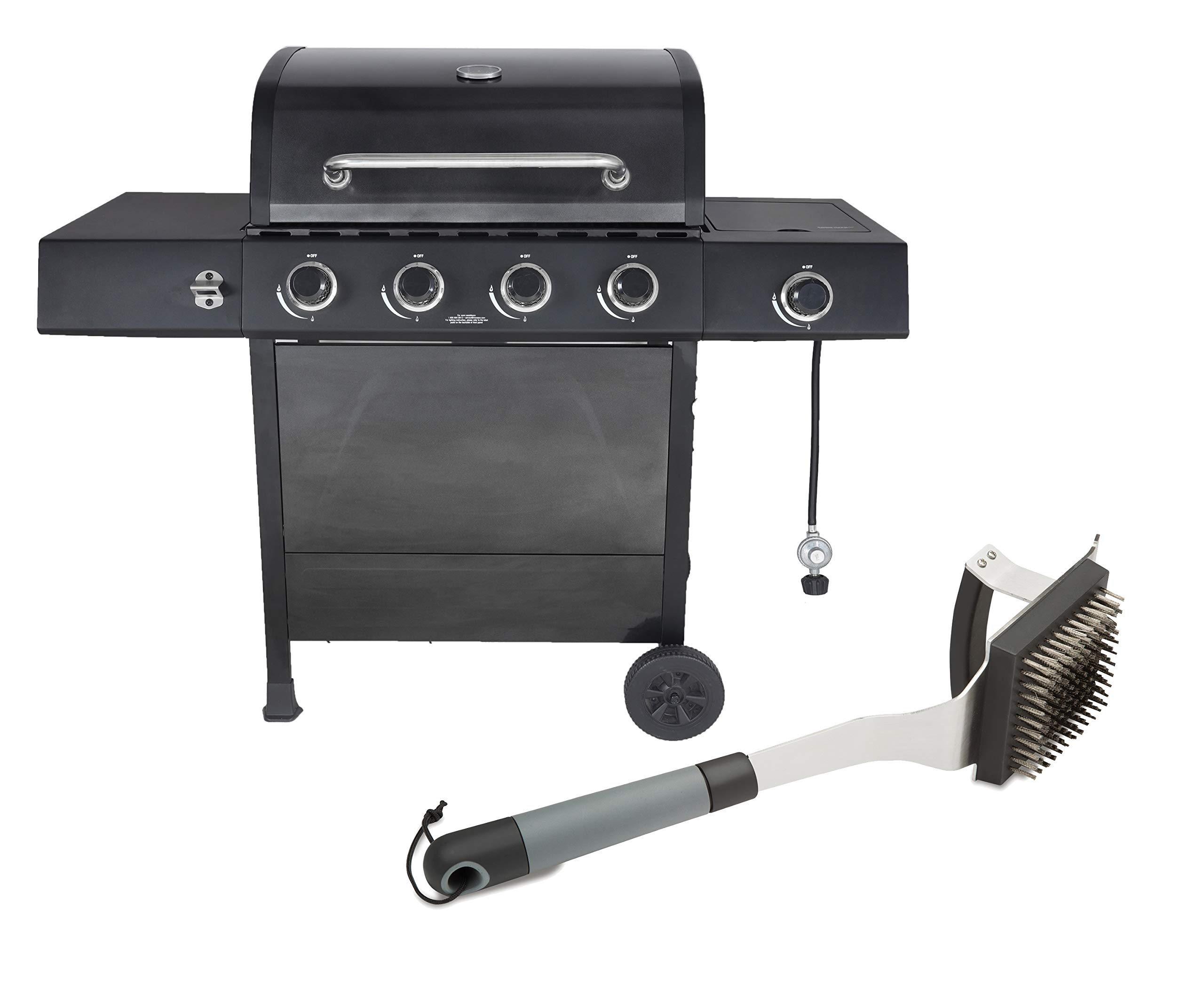 RevoAce 4-Burner Gas Grill with Side Burner, Pewter Bundle with Cuisinart Dual Grip Barbecue Grill Brush and Scraper by RevoAce + Cuisinart