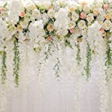 Bridal Shower Square Wedding Floral Wall Backdrop White and Green Wisteria Rose Flowers Dessert Table Decoration Newborn Background for Photography XT-6749