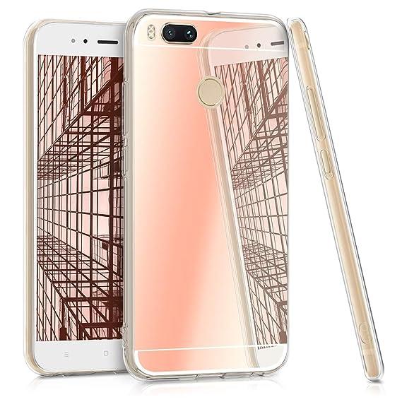 kwmobile Mirror Case for Xiaomi Mi 5X / Mi A1 - TPU Silicone Bumper Protective Cover Reflective Back Case - Rose Gold Reflective