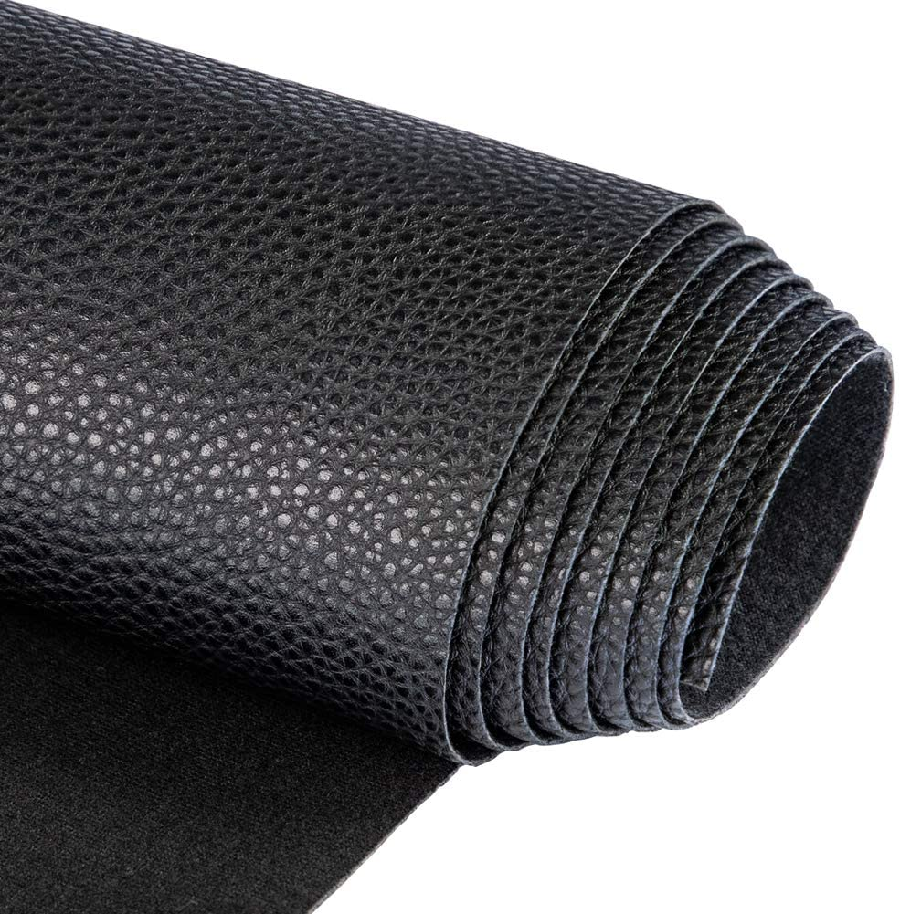 """Soft Synthetic PU Fabric Material Faux Leather Sheets 2 Yards 54"""" x 72"""", 0.95mm Thick for Upholstery, DIY Crafts, Litchi Pebbled Pattern Black"""