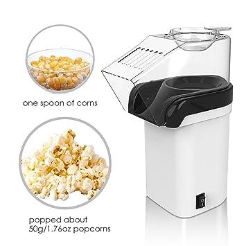 Máquina de palomitas, foneso Popcorn Maker en blanco, fácil de limpiar, no incluye margen de aceite, Popcorn Maker para fettarmes palomitas: Amazon.es: ...