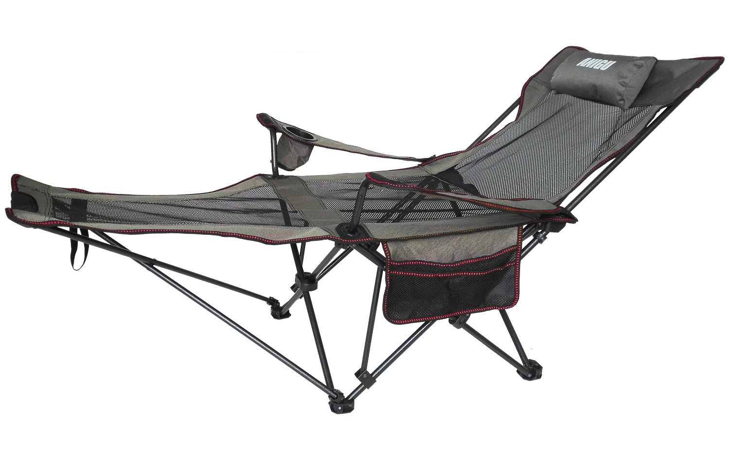 Anigu Mesh Lounge Reclining Folding Camp Chair with Footrest (Black) ANIGU1CA ANIGU1BLACKCA
