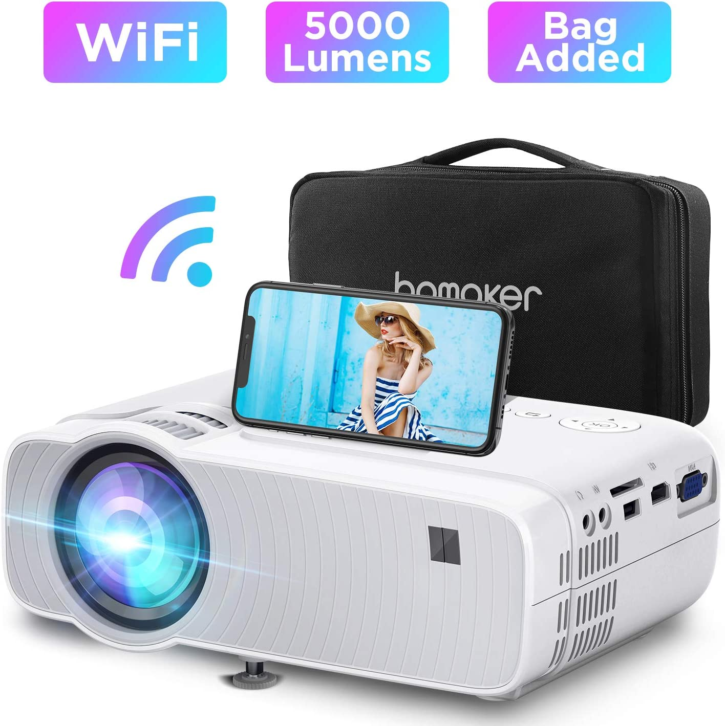 WiFi Mini Projector, BOMAKER 5000Lux Portable Outdoor Movie Projector, Wireless Screen Mirroring and Miracast,1080P Supported, 250'' Display, Compatible with TV Stick, PS4, PCs, iOS, Android, Windows