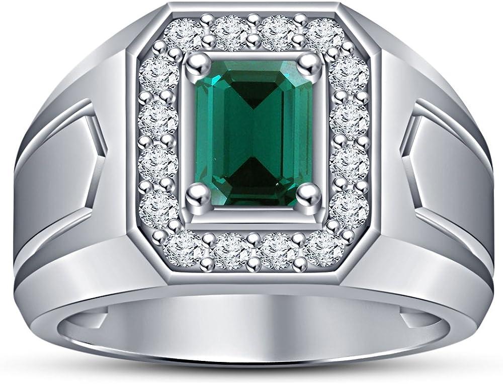 Vorra Fashion - Anillo de compromiso con detalles de plata de ley 925, corte esmeralda, color verde