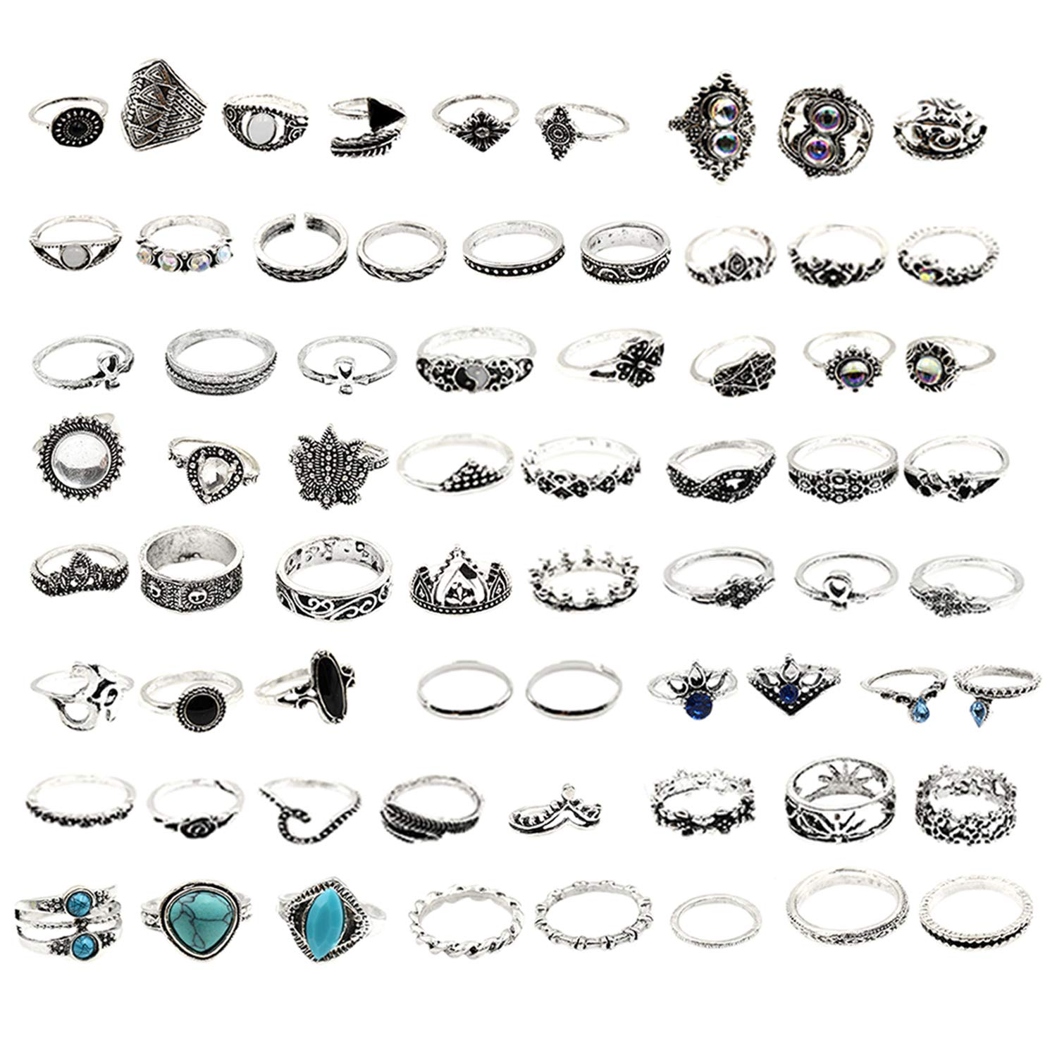 Xgood 66 Pcs Vintage Knuckle Ring Mid Rings Set Stackable Rings Set Finger Rings for Women Girls Children Teenagers Decorations Gifts by Xgood