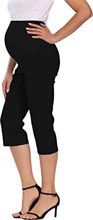 Foucome Women's Maternity Chino Shorts, Over The Belly Stretch Casual Elegant Golf Bermuda Shorts